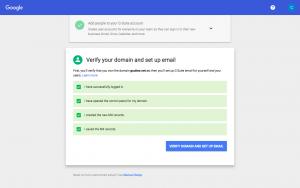 Bước 10: Sau khi hoàn tất thiết lập các bản ghi trên DNS tên miền theo giá trị Google cung cấp, bạn quay lại trang đăng ký G Suite và bấm VERIFY DOMAIN & SETUP EMAIL. Quá trình này có thể mất 30 phút cho tới vài tiếng hoặc tối đa 24h tùy thuộc vào tốc độ cập nhật của hệ thống quản lý DNS tên miền.