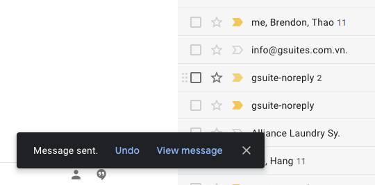 Undo send. Cho phép bạn hoàn tác việc gửi các email khi chưa sẵn sàng gửi.
