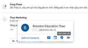 Tạo cuộc gọi video ngay từ giao diện Gmail