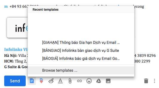 Chèn sẵn các nội dung thư theo template soạn trước giúp giảm thời gian soạn các email giống nhau.