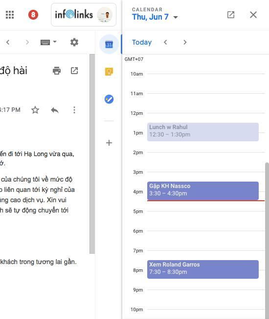 Quản lý công việc với Calendar ngay trong Gmail