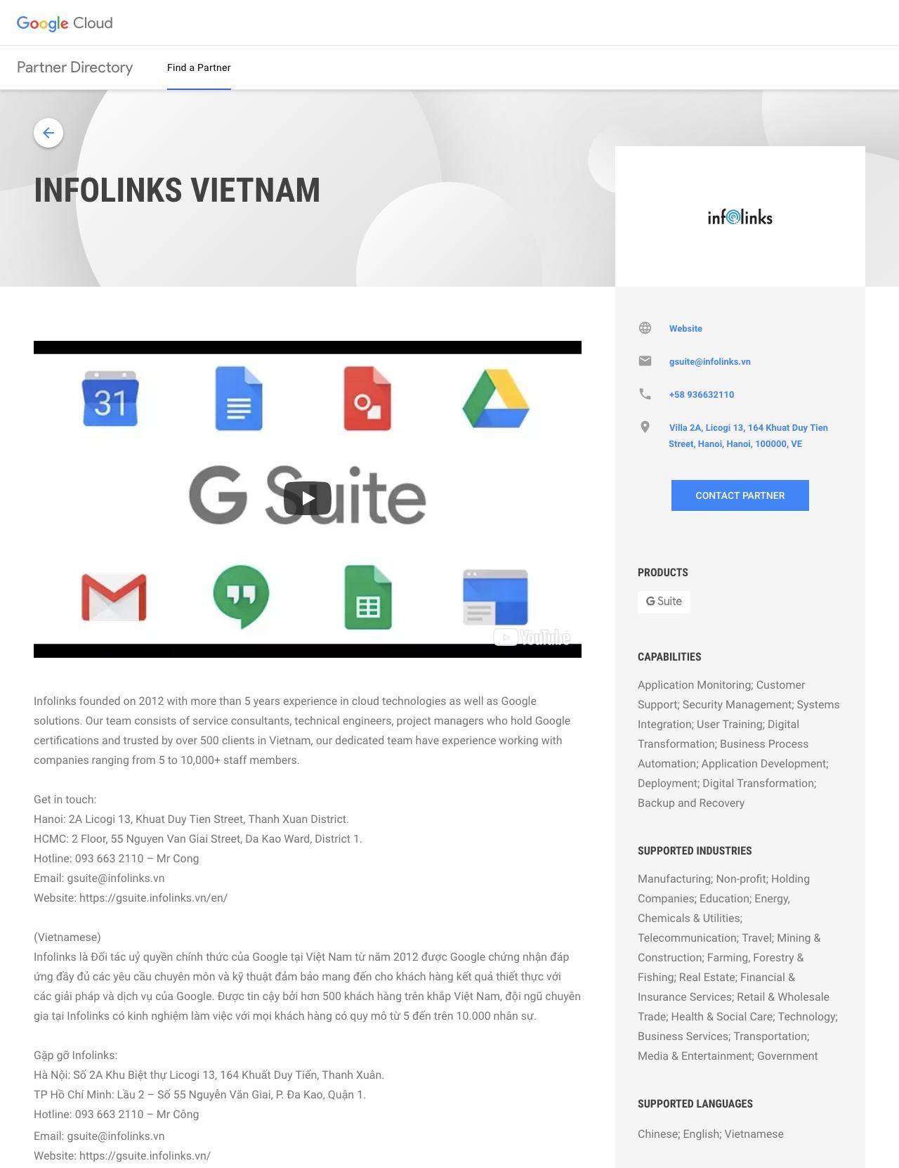 Chứng nhận Đối tác Ủy quyền chính thức cung cấp dịch vụ G Suite của Google với Infolinks Việt Nam