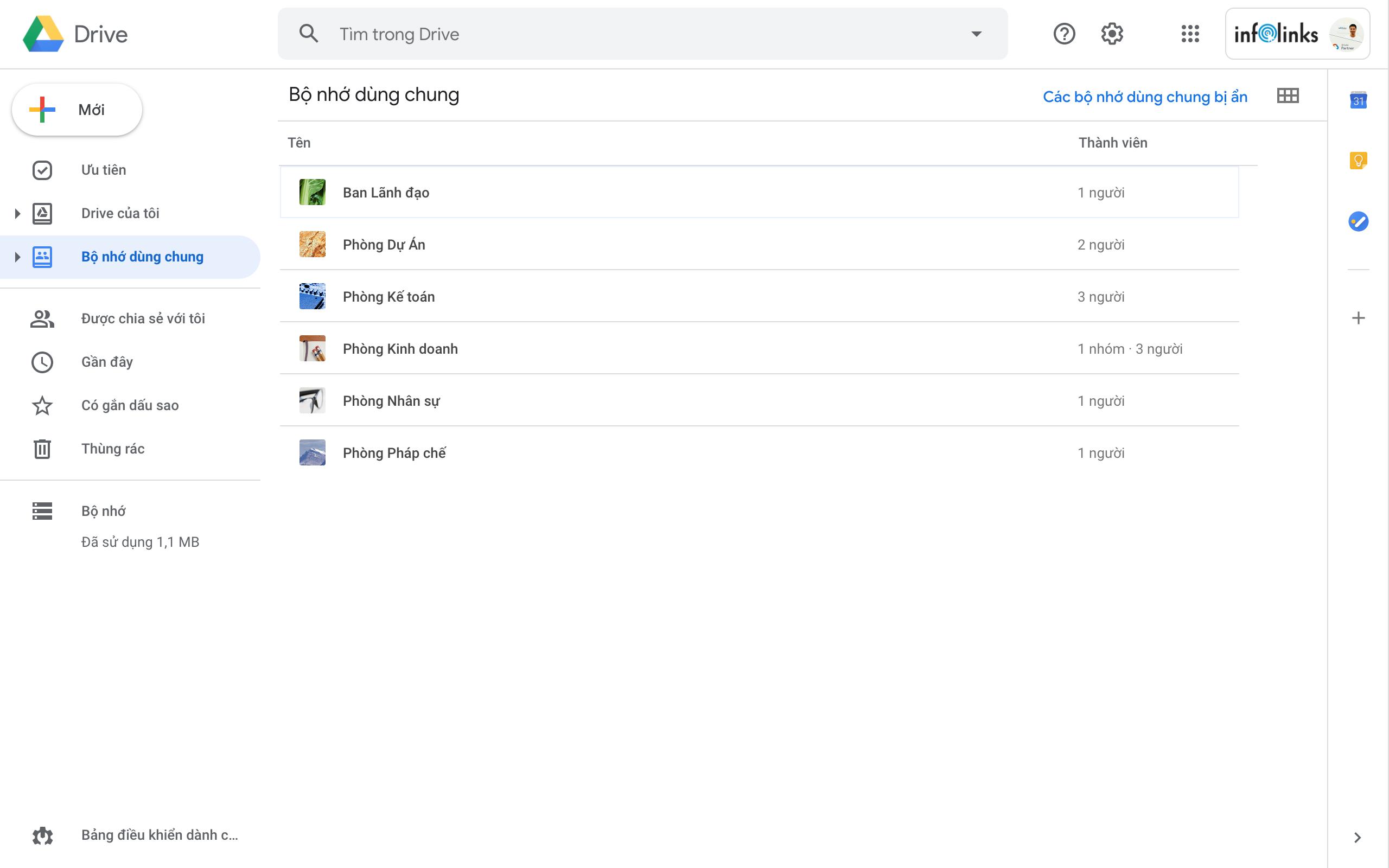 Tính năng Shared Drive (Bộ nhớ dùng chung) trong G Suite Business cho phép chia sẻ thư mục với các thành viên khác được phép upload/download/xem/sửa/xoá dữ liệu không giới hạn.