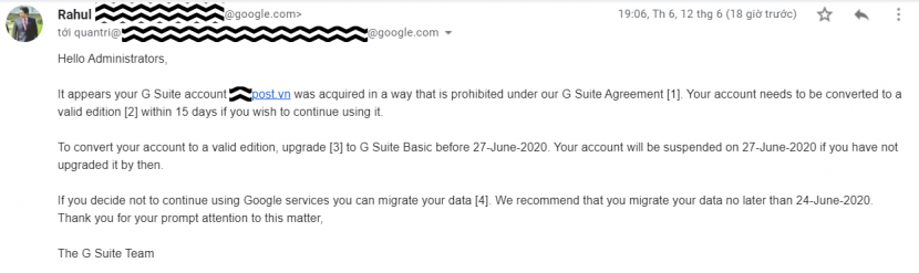 Your G Suite account will close in 15 days